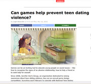 BoingBoing article on Jennifer Ann's Group use of video games to stop teen dating violence.